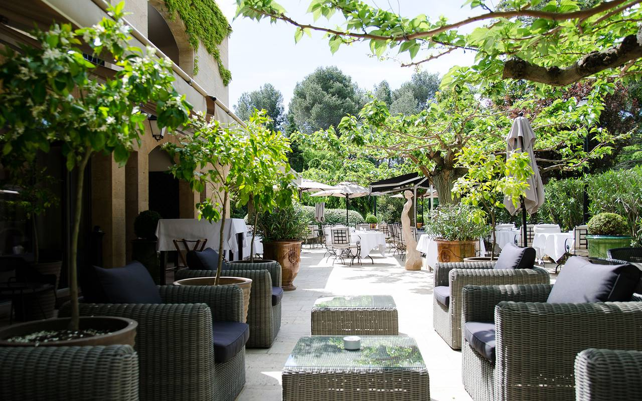 Outdoor lounge under the trees hotel st remy, 5 star hotel provence, Le Vallon de Valrugues & Spa.